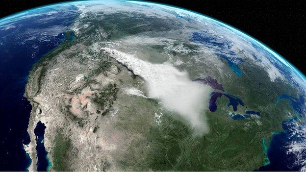 Yellowstone ash plume