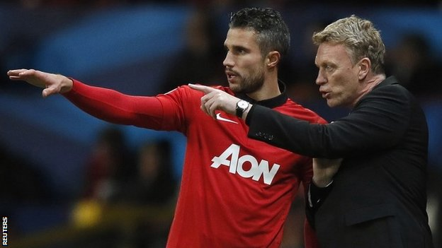 Manchester United striker Robin van Persie and manager David Moyes
