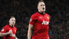Manchester United's Phil Jones (right) celebrates scoring