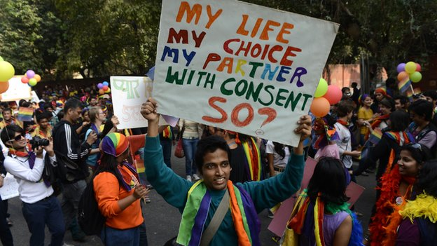 Photo from BBC website about protests against banning of homosexuality in India