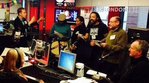 London church choir in BBC London 94.9 studio