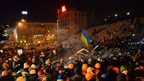 Riot police have moved in on a large protest camp in the centre of the Ukrainian capital, Kiev