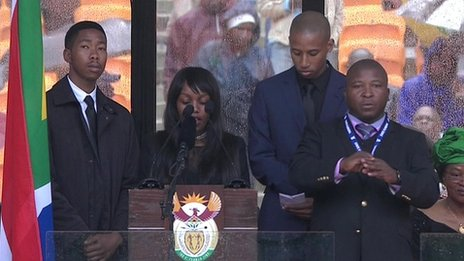 Screengrab taken from video of the live broadcast of Nelson Mandela's memorial service (10 December)