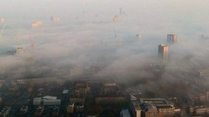 Mist over London from Canary Wharf