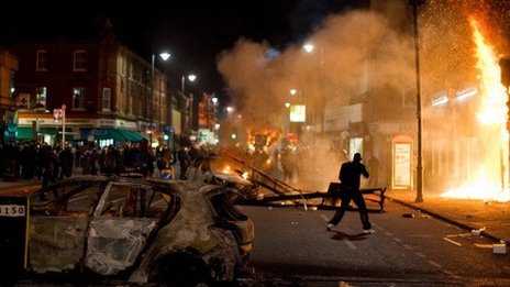 Tottenham on fire during riots