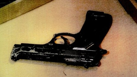 Photograph of a gun - used as evidence in the Mark Duggan inquest