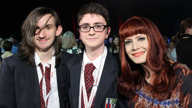School Reporters Joshua (left) and Jake from Lisneal College with singer Anna Matronic from Scissor Sisters