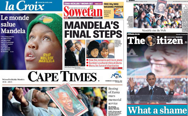 World papers leading on Mandela memorial service