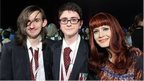 School Reporters Joshua (left)and Jake from Lisneal College with singer Anna Matronic from Scissor Sisters