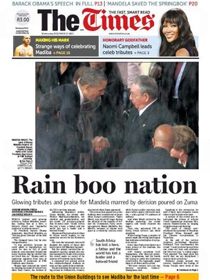 Times South Africa front page: Rain boo nation