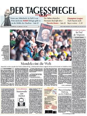 Front page of Der Tagesspiegel