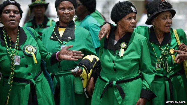 African National Congress members in Johannesburg about to attend a prayer service for Nelson Mandela - Sunday 8 December 2013