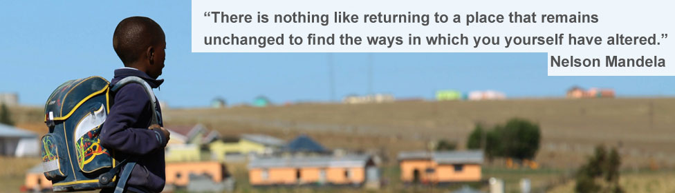 Child in Qunu and quote from Nelson Mandela
