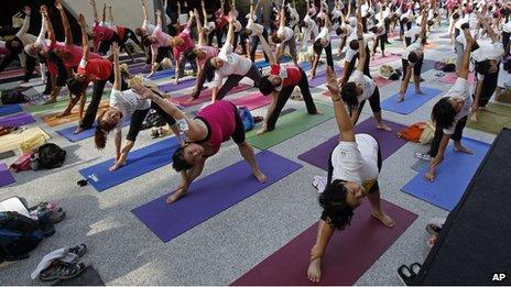 A yoga class in Kuala Lumpur, Malaysia