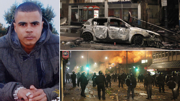 Mark Duggan and riot scenes