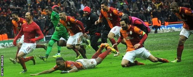 Galatasaray celebrate beating Juventus