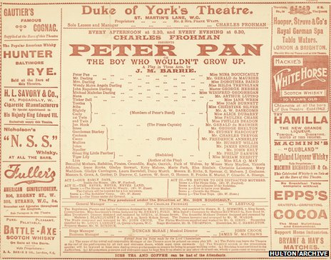 Programme for the first stage production of Peter Pan