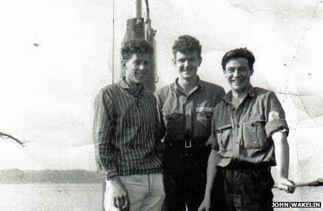 "John ""Wacker"" Wakelin (left) on HM Submarine Tiptoe"