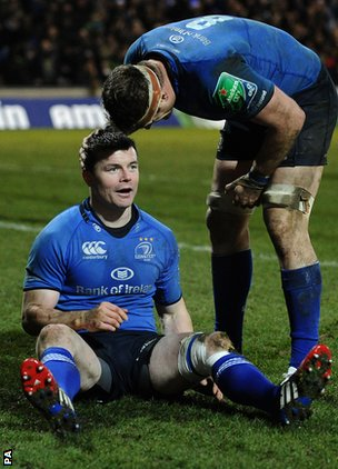 Brian O'Driscoll smiles after scoring for Leinster in the big win away to Northampton