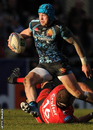 Jack Nowell on the attack for Eexter in the Heineken Cup