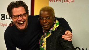 Robert Elms and Angelique Kidjo