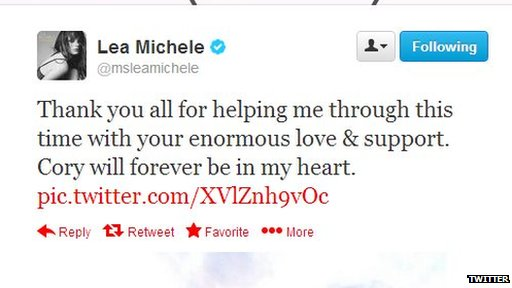 Lea Michele post on Twitter