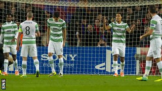 Celtic despair after conceding a goal in the Nou Camp