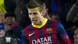 Gerard Pique celebrates the opening goal