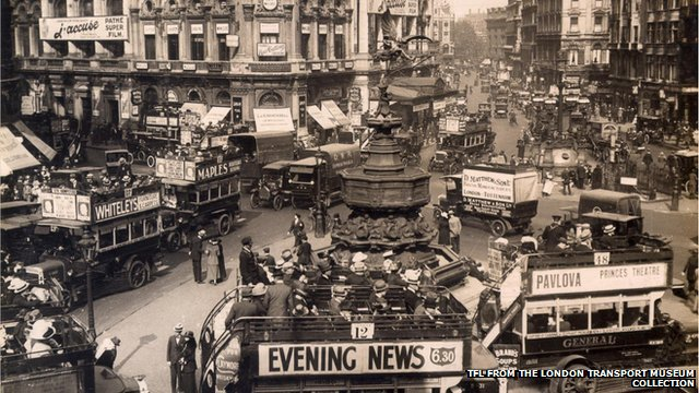 B-type London buses in Piccadilly Circus in London