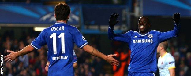 Demba Ba celebrates Chelsea goal