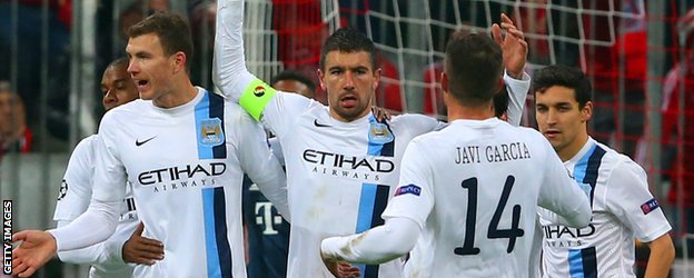 Manchester City celebrate their second goal against Bayern Munich