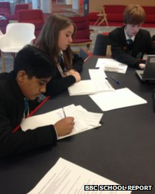 The Compton School's School Reporters preparing for their interview