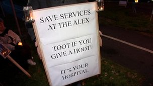 Campaign board to save services at Alexandra Hospital in Redditch