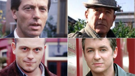 Clockwise: Den Watts, Frank Butcher, Alfie Moon, Grant Mitchell