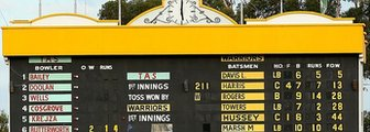 The scoreboard at the Waca