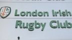 London Irish logo at the Madejski Stadium