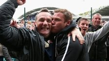 Barnsley caretaker Micky Mellon and former manager David Flitcroft in happier times.