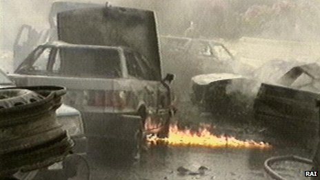 The aftermath of an explosion in Palermo in 1992 in which a judge was killed