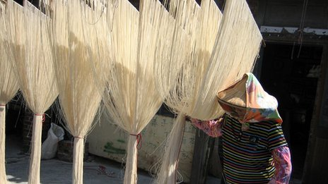 noodles drying in the sun
