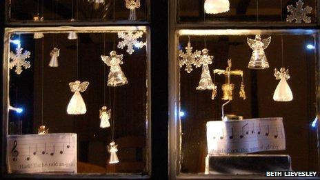 Part of an advent calendar window