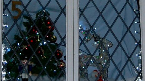 Part of an advent calendar window
