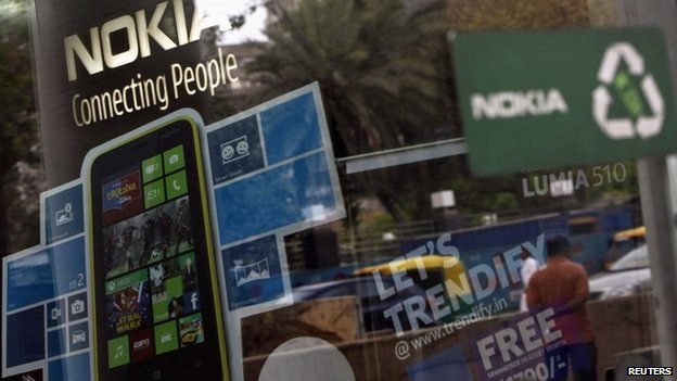 A Nokia showroom in New Delhi in this March 28, 2013 file photograph
