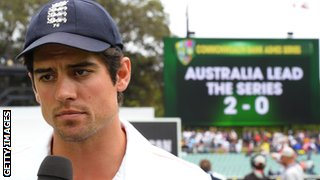 England captain Alastair Cook speaks to the media after Australia defeated England on the final day of the second Ashes cricket Test match in Adelaide.