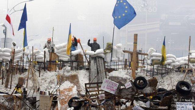 Protesters in Kiev centre
