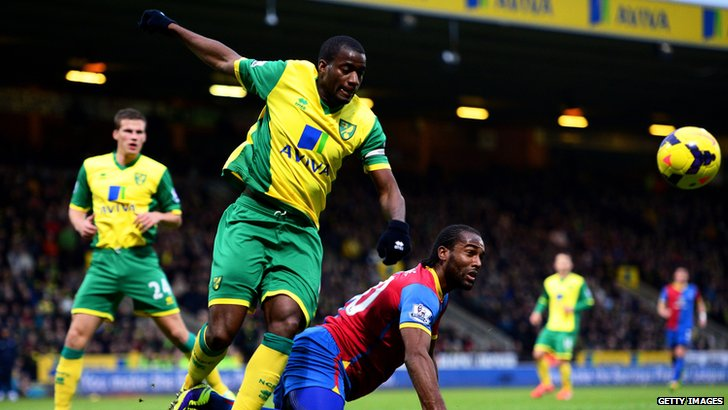 Norwich City's Sebastien Bassong in action against Crystal Palace