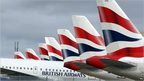 British Airways aeroplane tail fins and logos