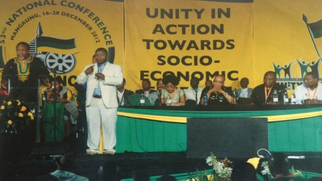 Thamsanqa Jantjie signing at an ANC event (undated image)