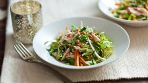 Turkey salad with Chinese cabbage, beansprouts and Vietnamese mint