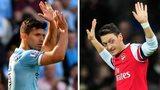 Sergio Aguero of Man City and Mesut Ozil of Arsenal