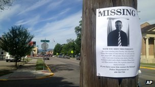 A flyer seeking information regarding Cody Lee Johnson is posted in Kalispell, Montana, on 12 July 2013